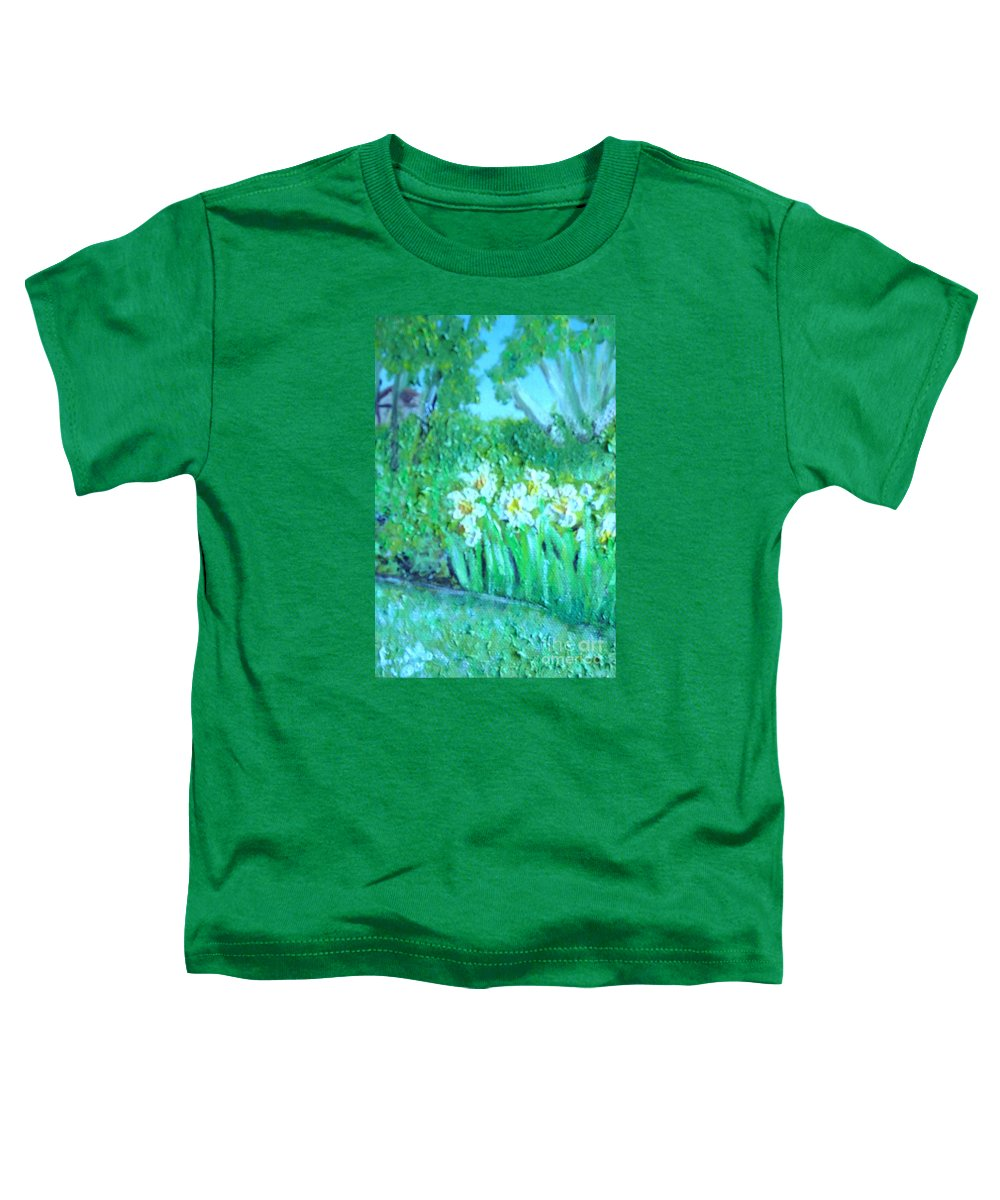 Daffodils Toddler T-Shirt featuring the painting Dependable Daffodils by Laurie Morgan