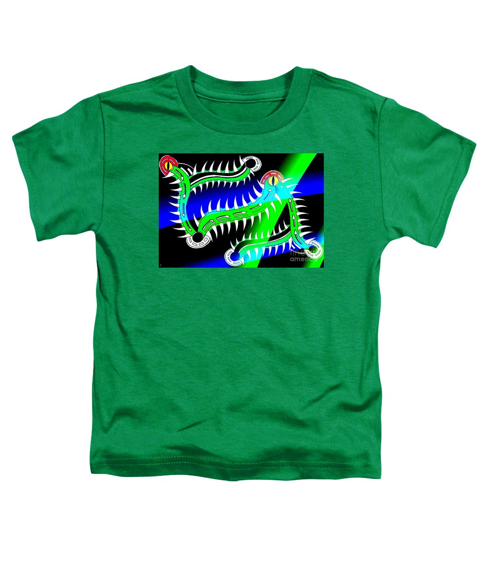 Tribal Gators Obscure Different Toddler T-Shirt featuring the digital art Gators by Graham Roberts