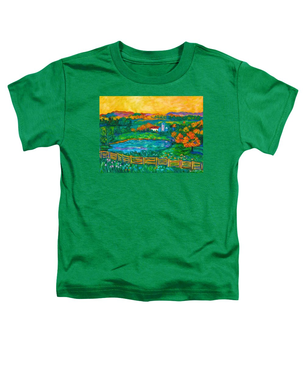 Landscape Toddler T-Shirt featuring the painting Golden Farm Scene Sketch by Kendall Kessler