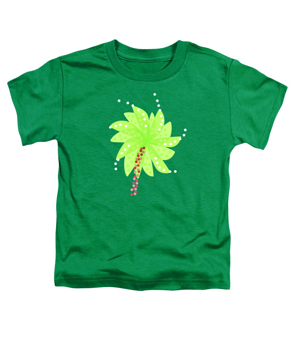 Pattern Toddler T-Shirt featuring the digital art Green Flowers In The Wind by Boriana Giormova