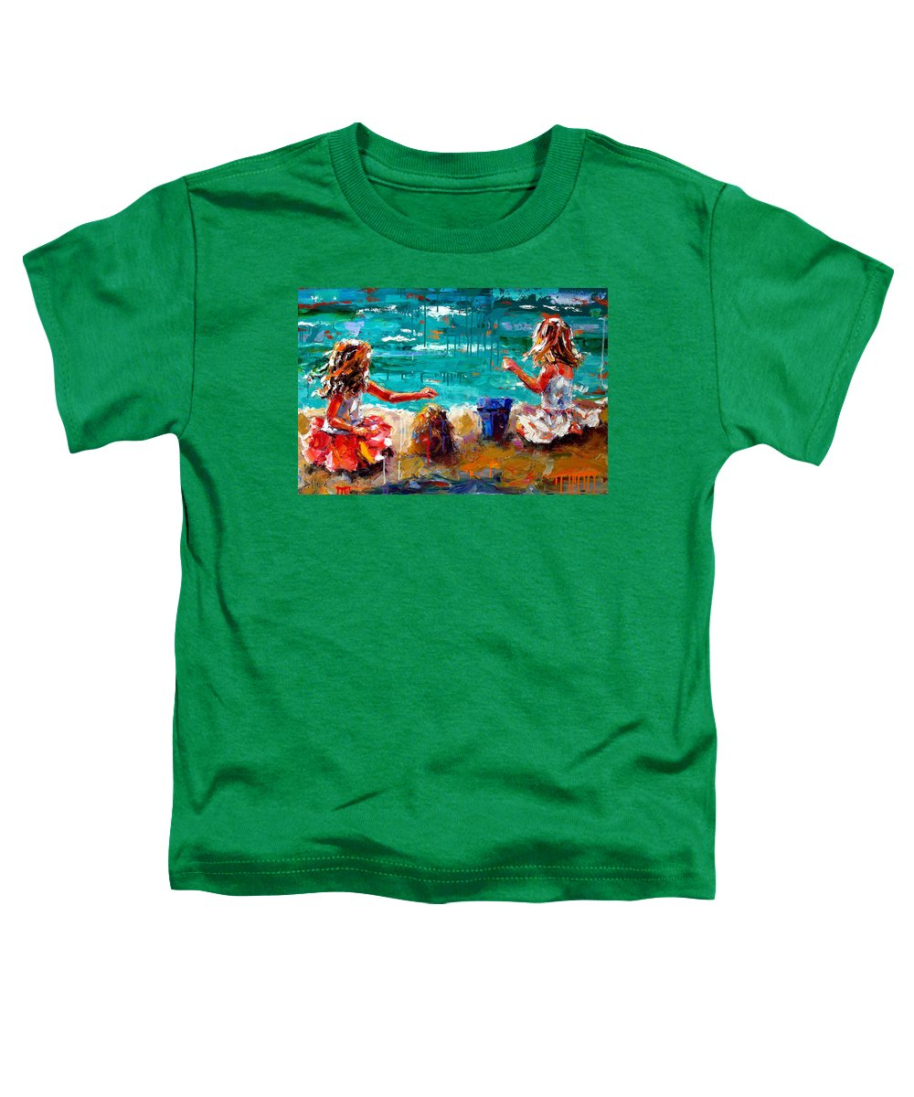 Seascape Toddler T-Shirt featuring the painting Her Blue Bucket by Debra Hurd