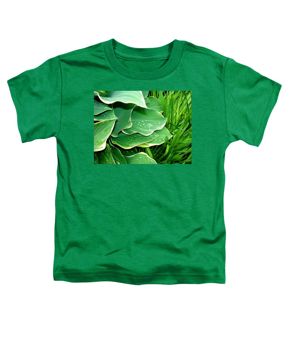 Hostas Toddler T-Shirt featuring the photograph Hosta Leaves And Waterdrops by Nancy Mueller