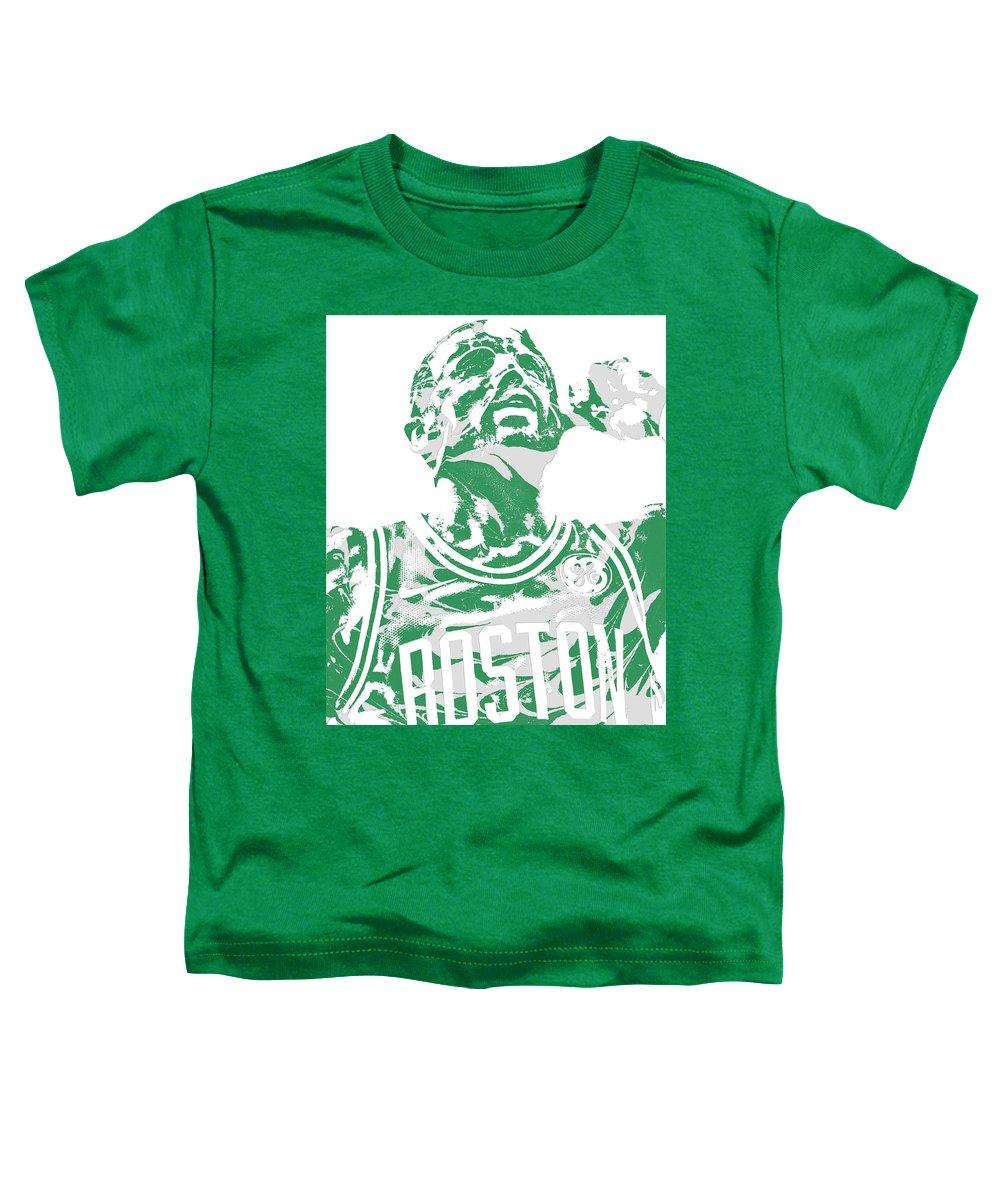 Kyrie Irving Toddler T-Shirt featuring the mixed media Kyrie Irving Boston Celtics Pixel Art 41 by Joe Hamilton