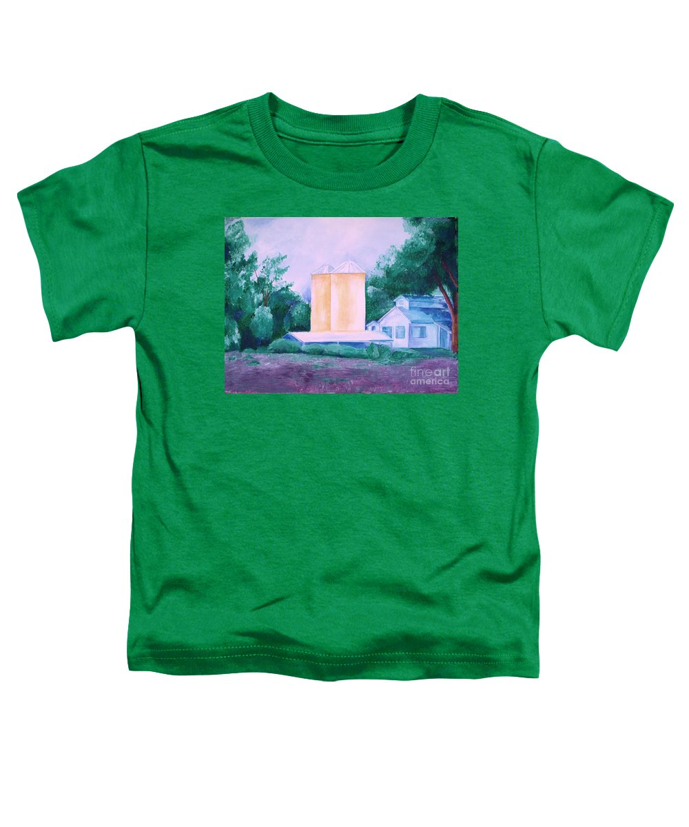 Western Toddler T-Shirt featuring the painting Lavender Farm Albuquerque by Eric Schiabor