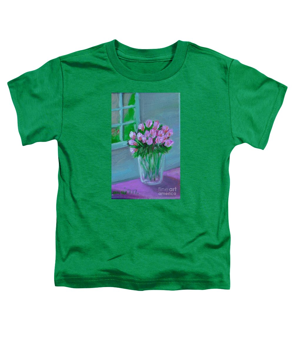 Rose Toddler T-Shirt featuring the painting Leslie's Roses by Laurie Morgan