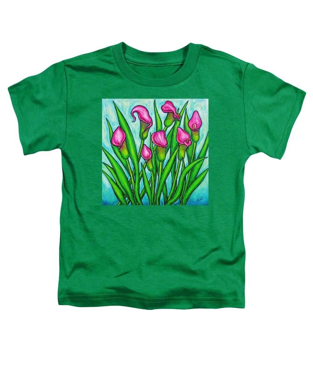 Lisa Lorenz Toddler T-Shirt featuring the painting Pink Ladies by Lisa Lorenz