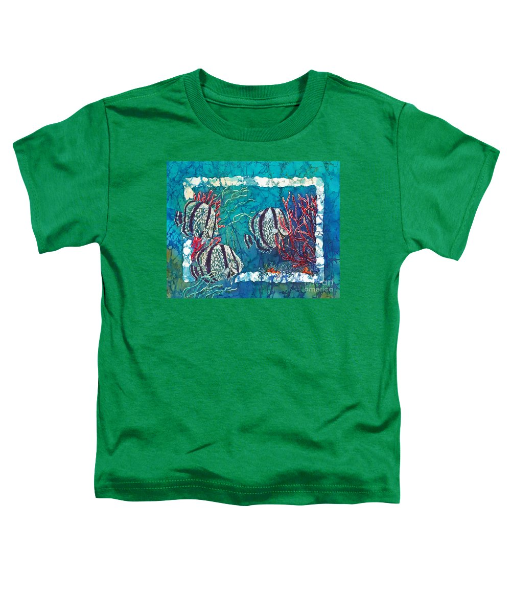 Fish Toddler T-Shirt featuring the painting Playful Trio by Sue Duda