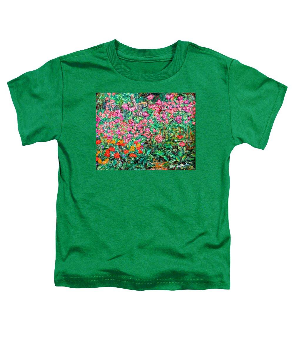 Kendall Kessler Toddler T-Shirt featuring the painting Radford Flower Garden by Kendall Kessler