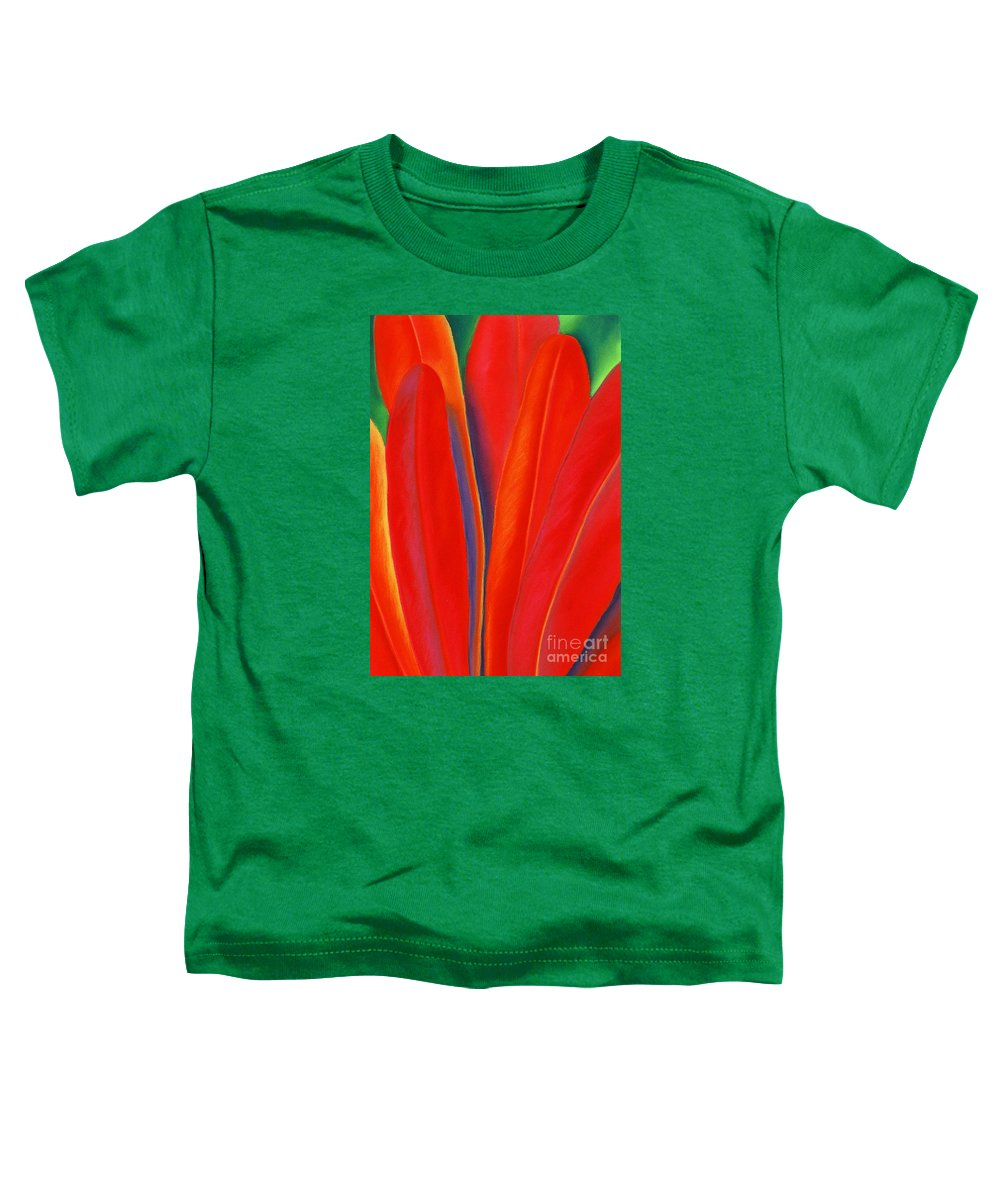 Red Toddler T-Shirt featuring the painting Red Petals by Lucy Arnold