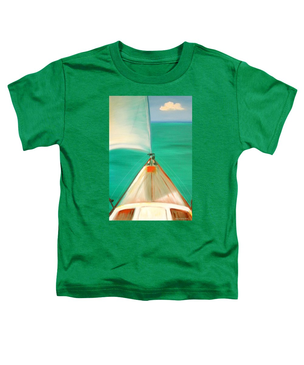 Sea Toddler T-Shirt featuring the painting Sailing by Gina De Gorna