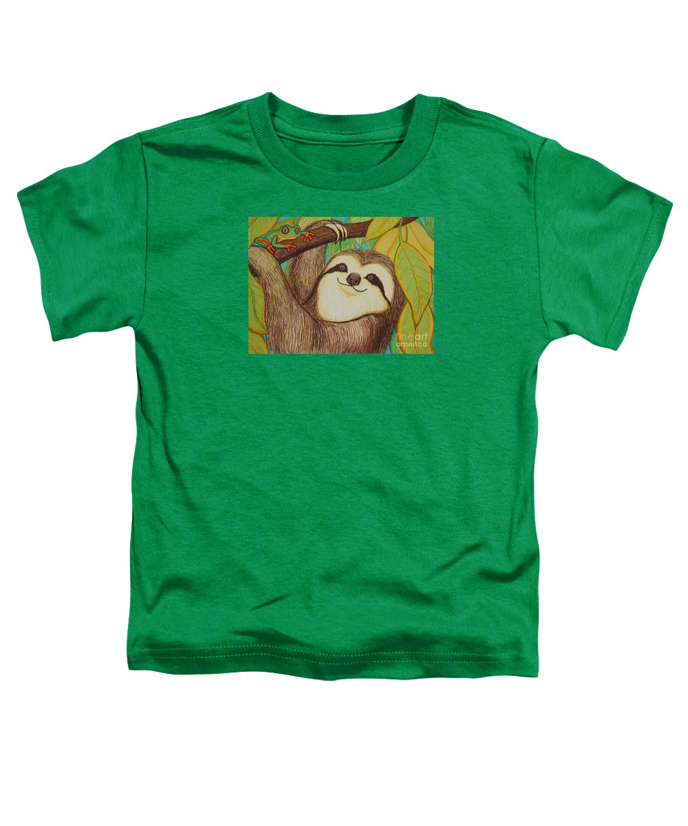Sloth Toddler T-Shirt featuring the drawing Sloth And Frog by Nick Gustafson