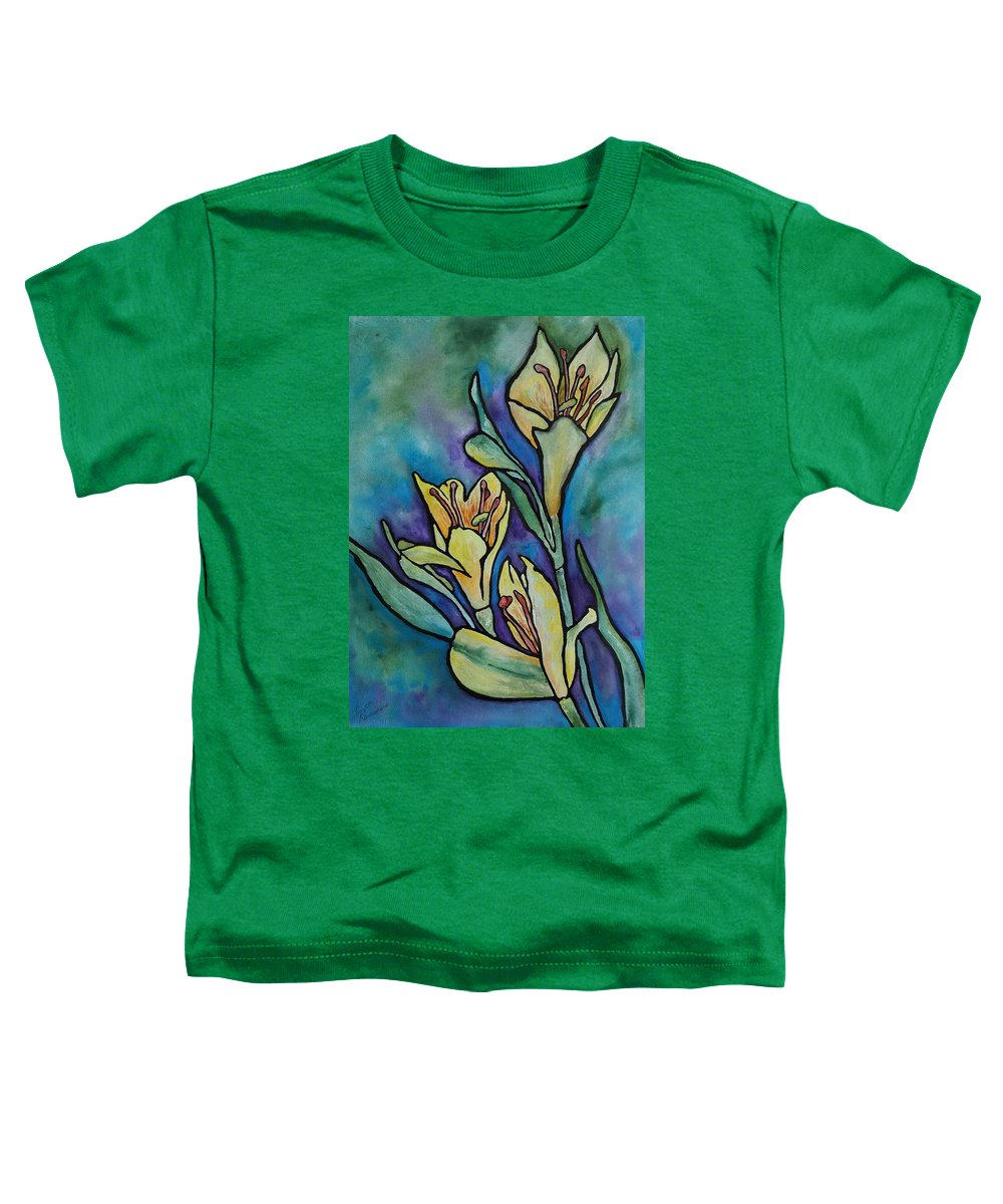 Flowers Toddler T-Shirt featuring the painting Stained Glass Flowers by Ruth Kamenev