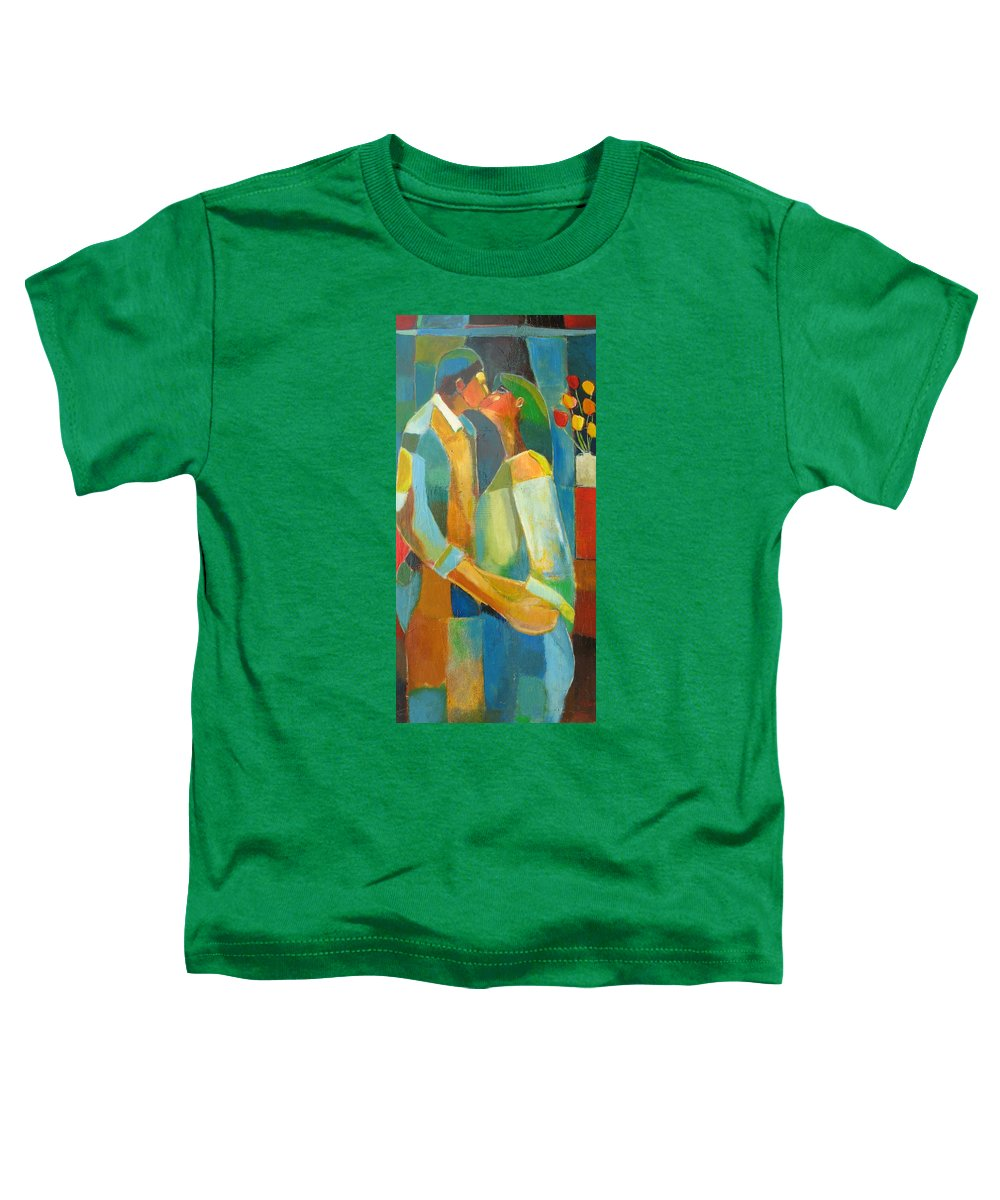Love Abstract Toddler T-Shirt featuring the painting The Sweet Kiss by Habib Ayat