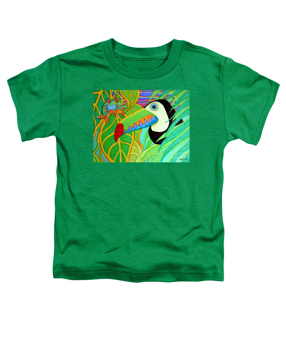 Red Eyed Tree Frogs Toddler T-Shirt featuring the drawing Toucan And Red Eyed Tree Frog by Nick Gustafson