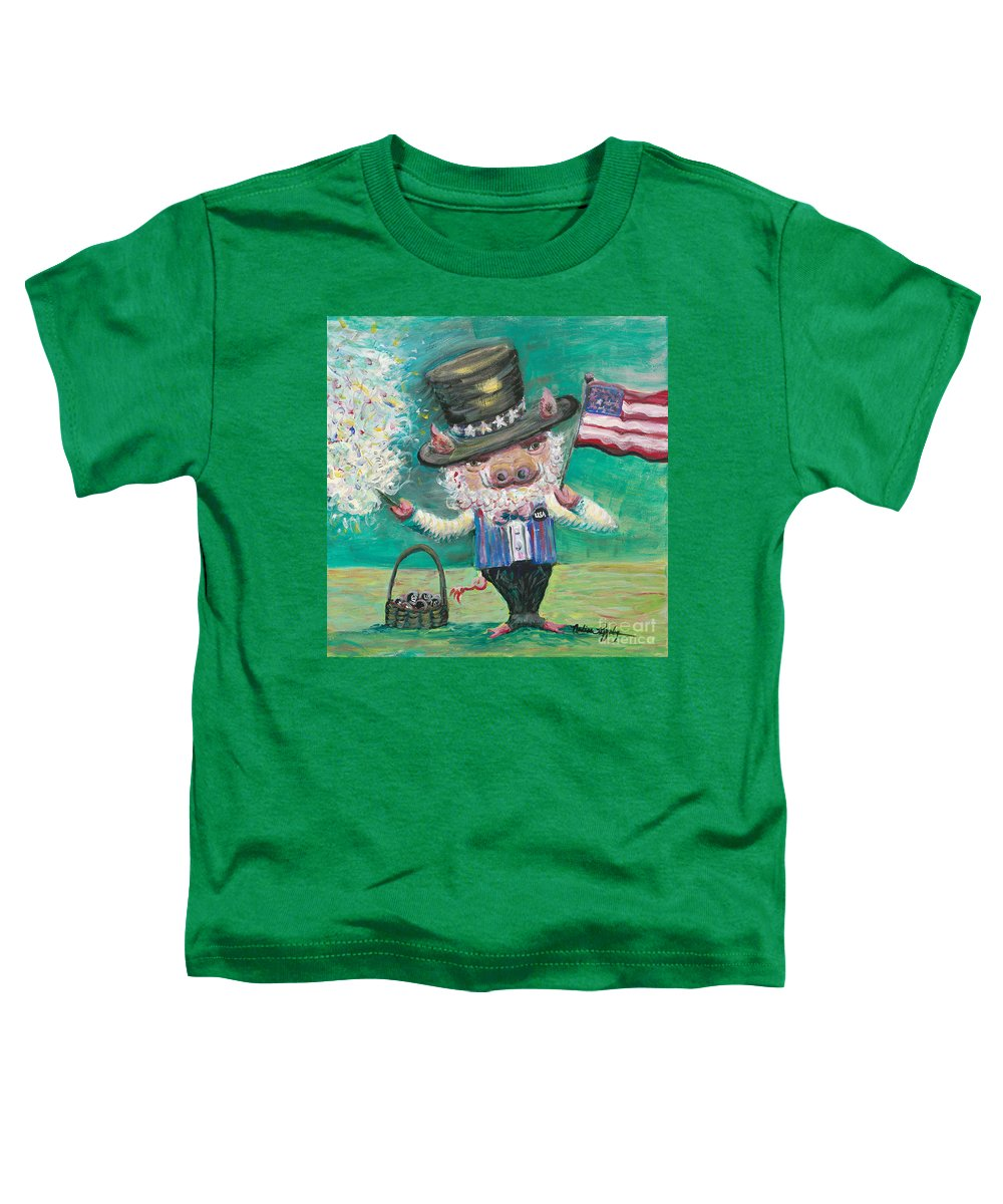 Fourth Of July Toddler T-Shirt featuring the painting Uncle Spam by Nadine Rippelmeyer