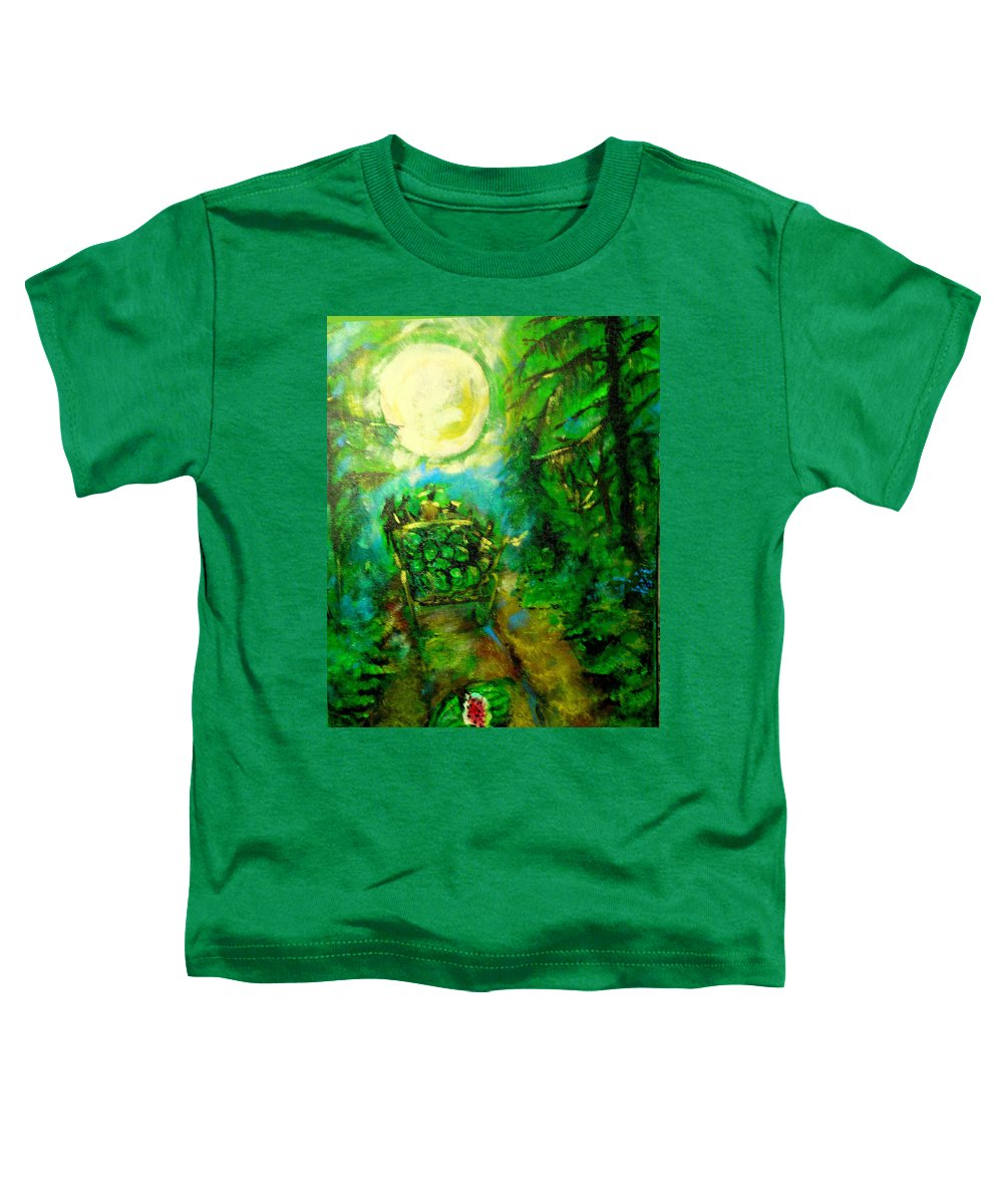 Watermelon Wagon Moon Toddler T-Shirt featuring the painting Watermelon Wagon Moon by Seth Weaver