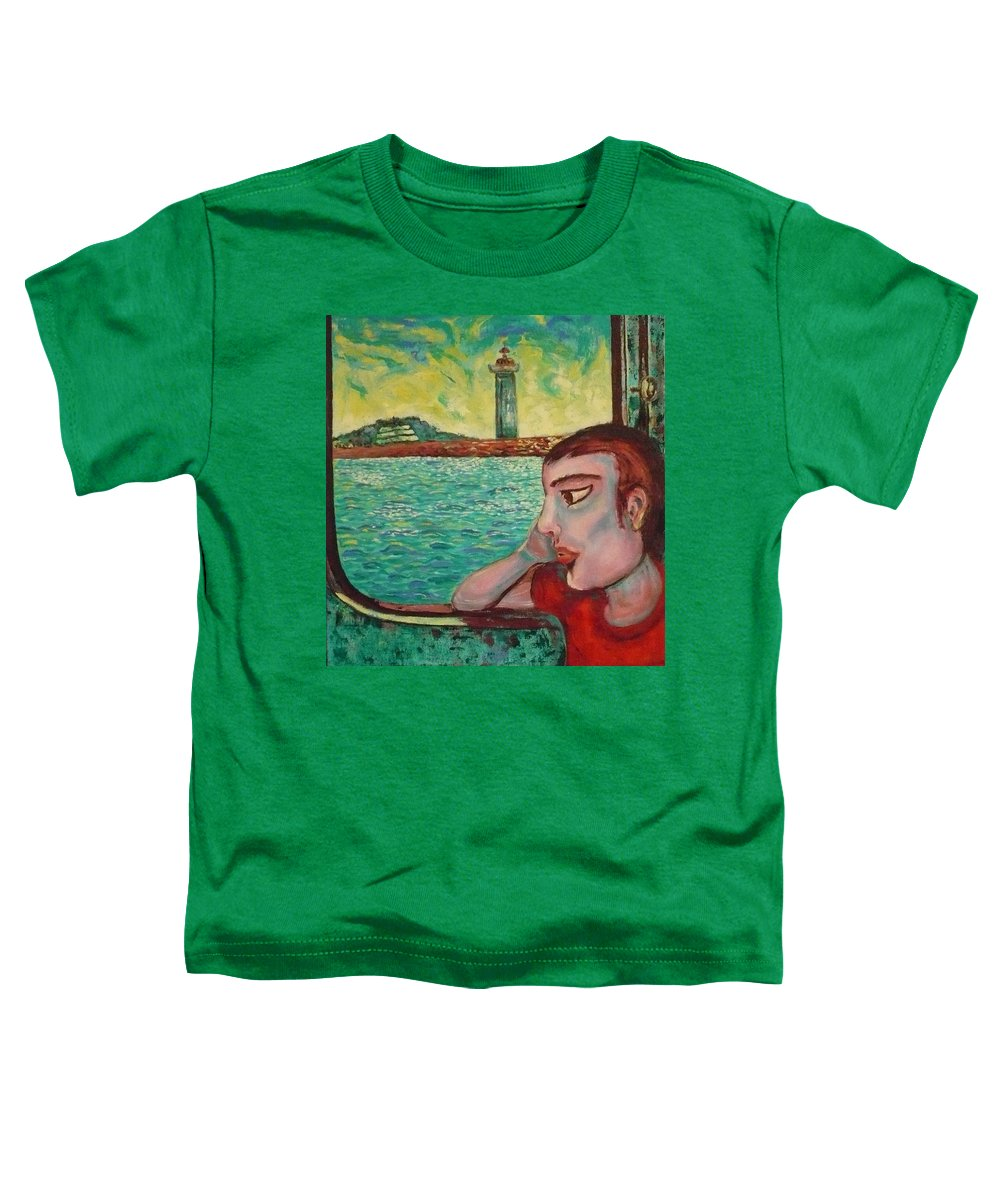 Window Toddler T-Shirt featuring the painting Young Man In A Window by Ericka Herazo