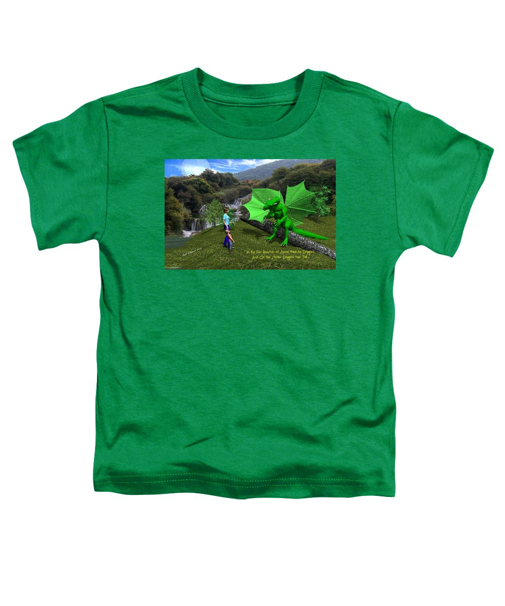 Toddler T-Shirt featuring the digital art There Be Dragons by Bob Shimer