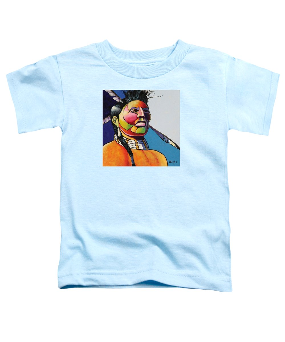 Native American Toddler T-Shirt featuring the painting Indian Portrait by Joe Triano