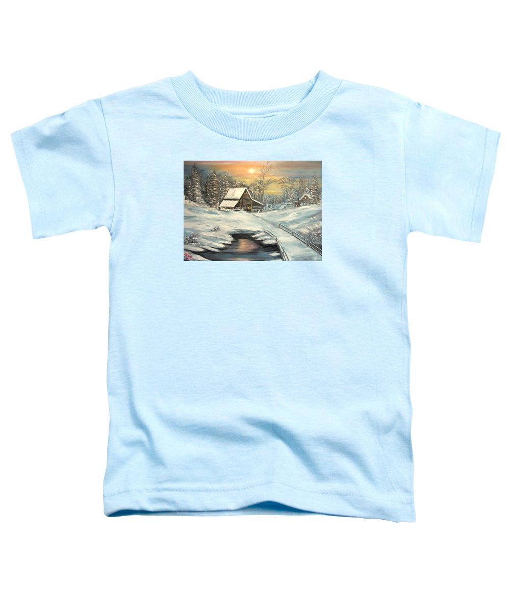 Winter Toddler T-Shirt featuring the painting Winter by Kenneth LePoidevin