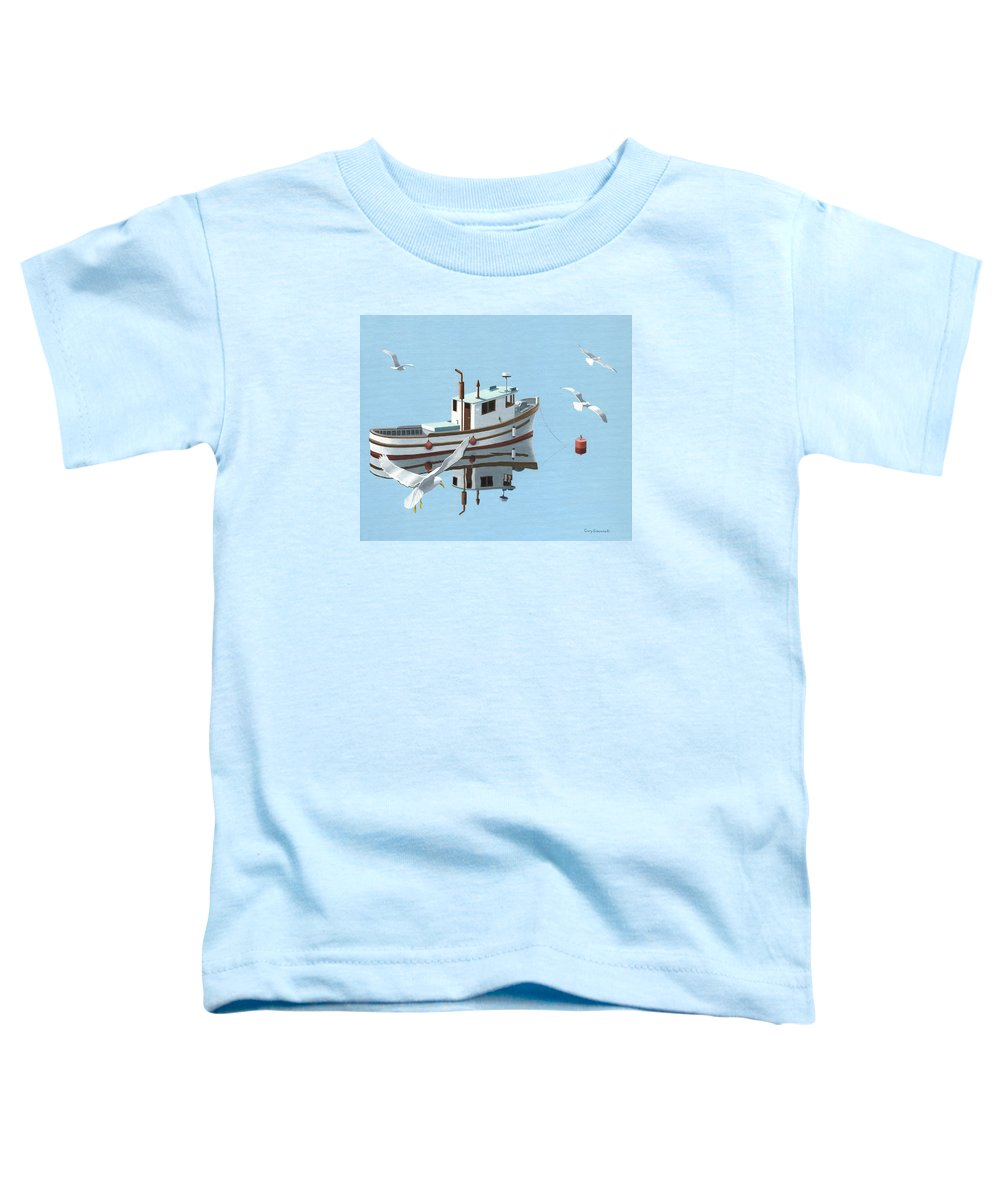 Boat Toddler T-Shirt featuring the painting A Contemplation Of Seagulls by Gary Giacomelli
