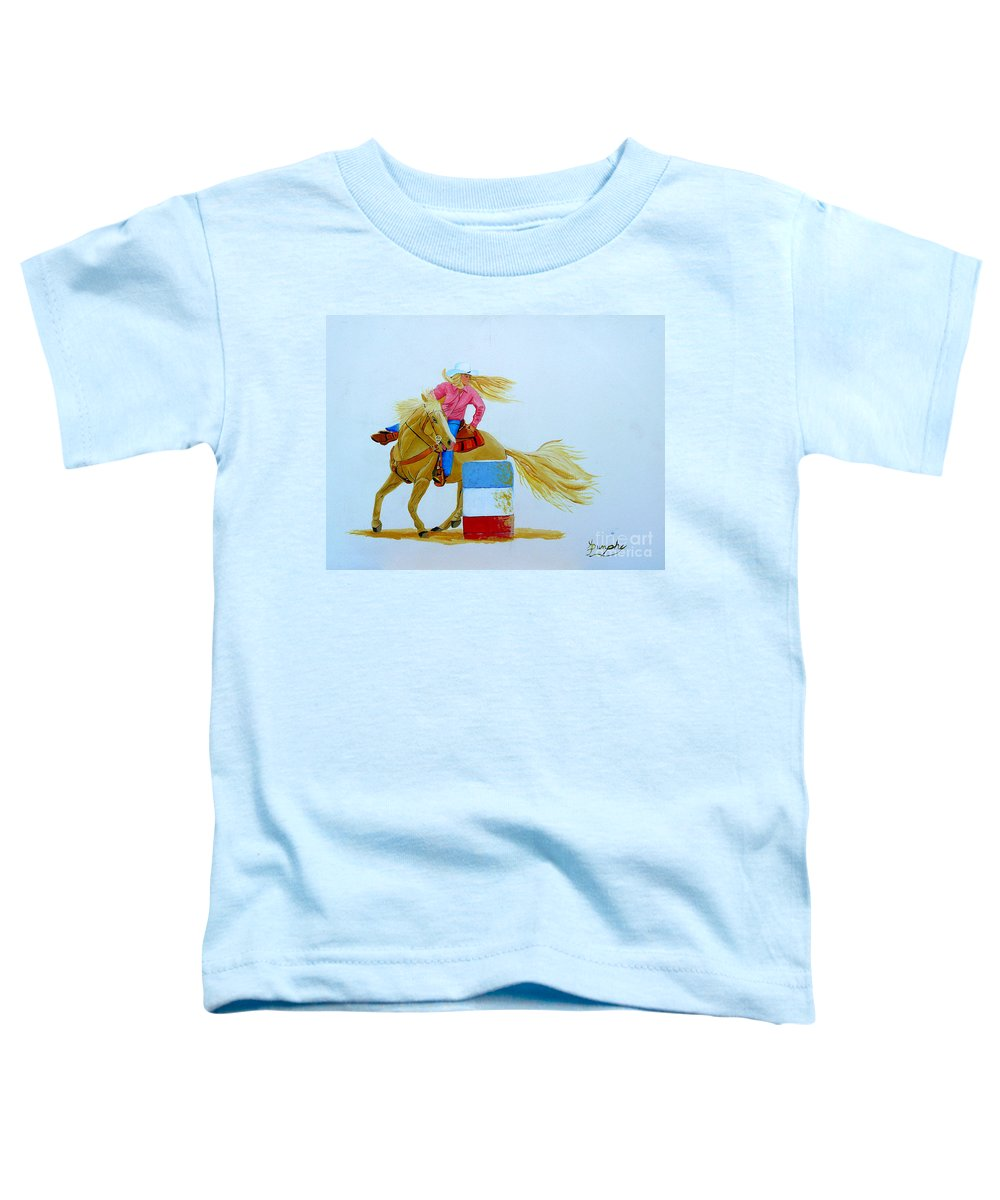 Rodeo Toddler T-Shirt featuring the painting Barrel Racer by Anthony Dunphy