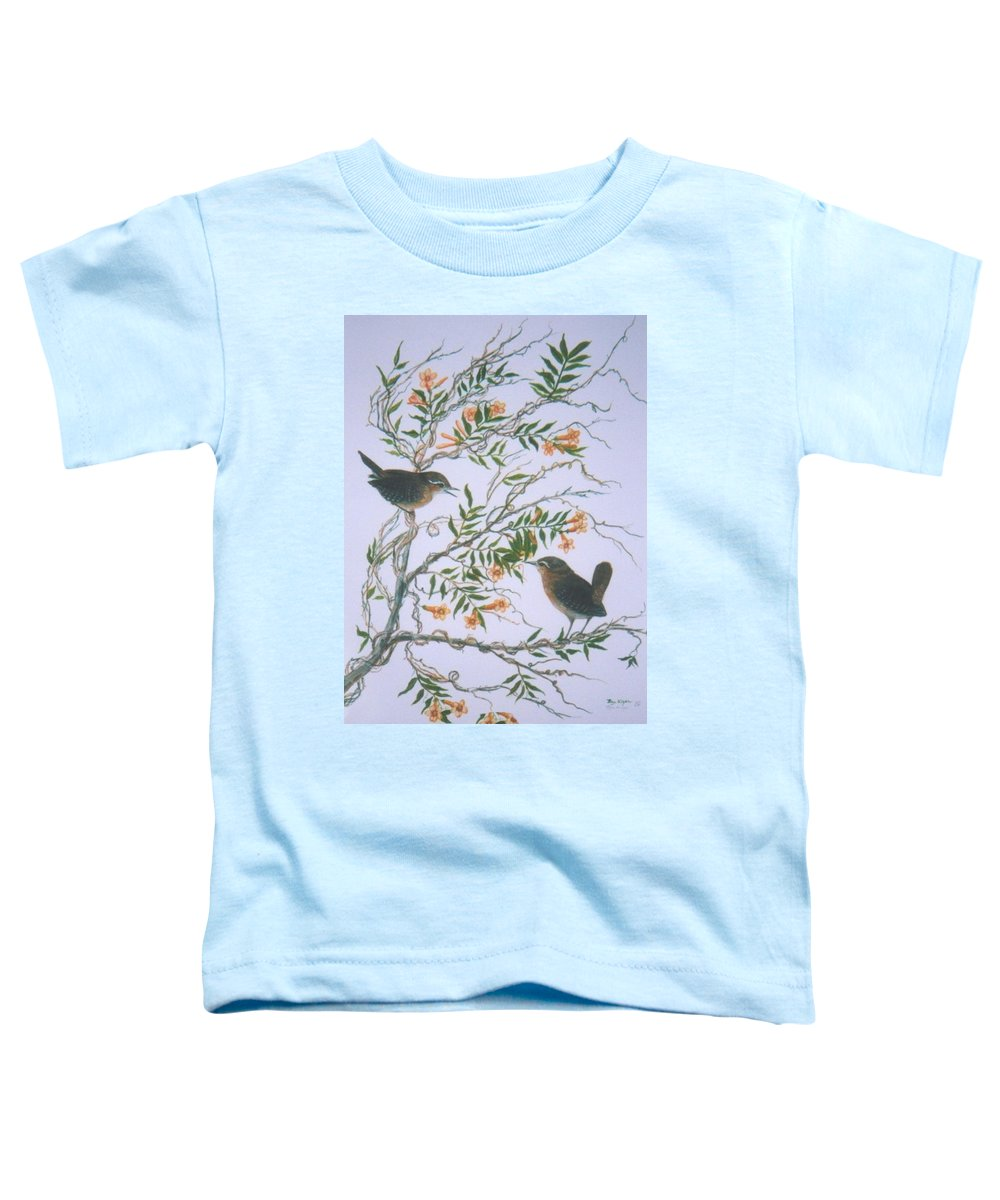 Bird; Flowers Toddler T-Shirt featuring the painting Carolina Wren And Jasmine by Ben Kiger