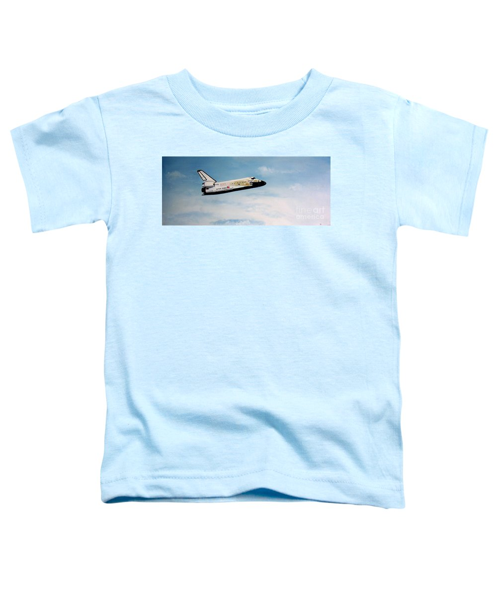 Shuttle Toddler T-Shirt featuring the painting Challenger by Murphy Elliott