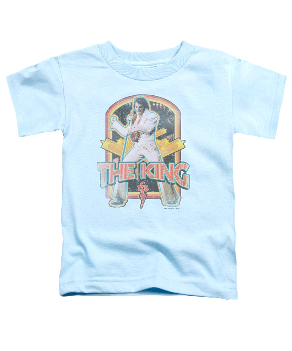 Elvis Toddler T-Shirt featuring the digital art Elvis - Distressed King by Brand A