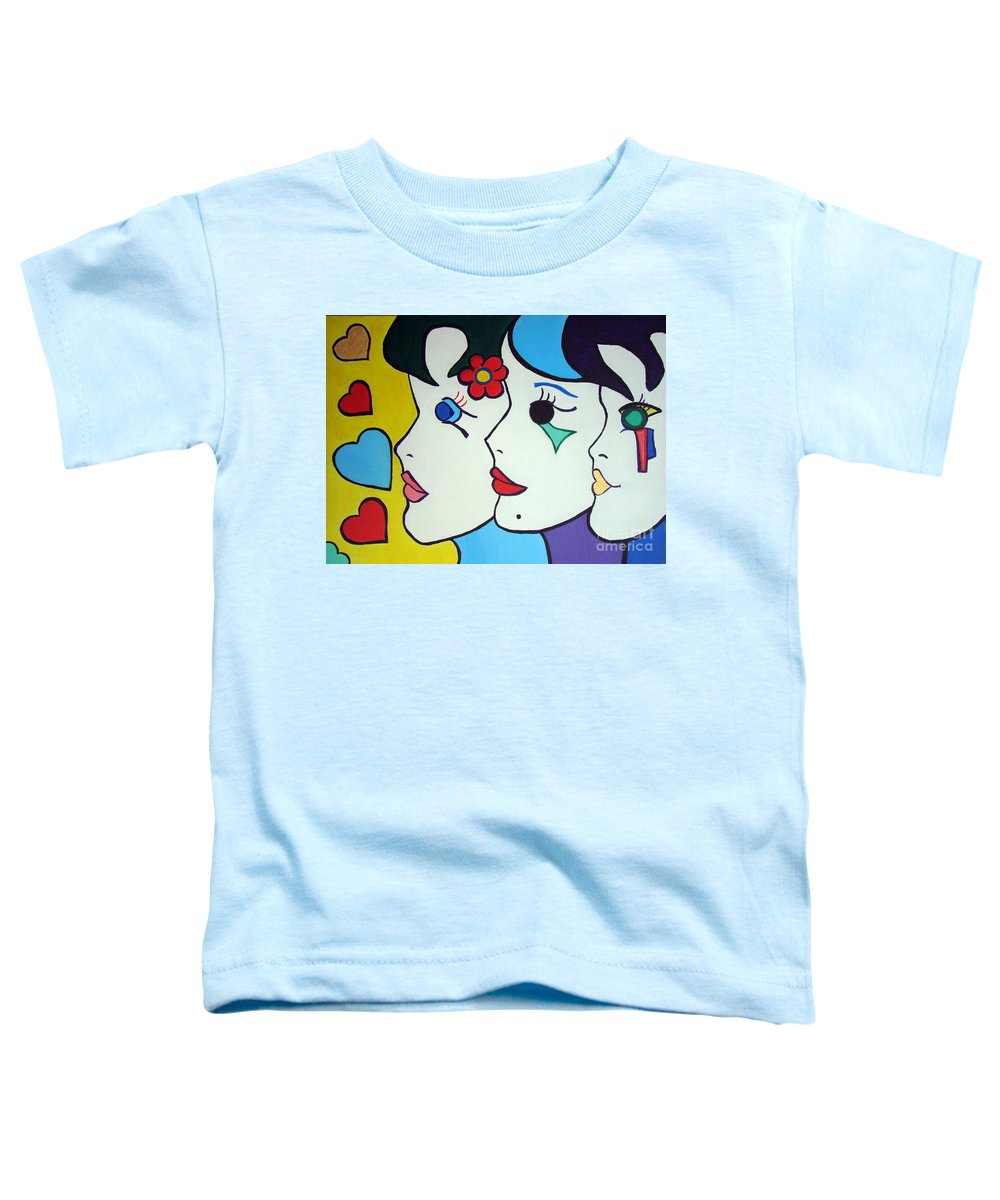 Pop-art Toddler T-Shirt featuring the painting Falling In Love by Silvana Abel