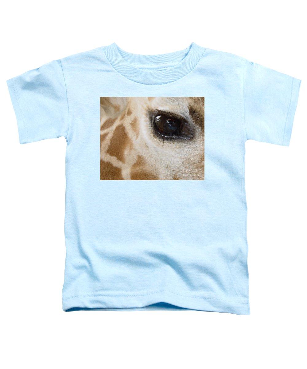 Giraffe Toddler T-Shirt featuring the photograph Giraffe Eye by Heather Coen