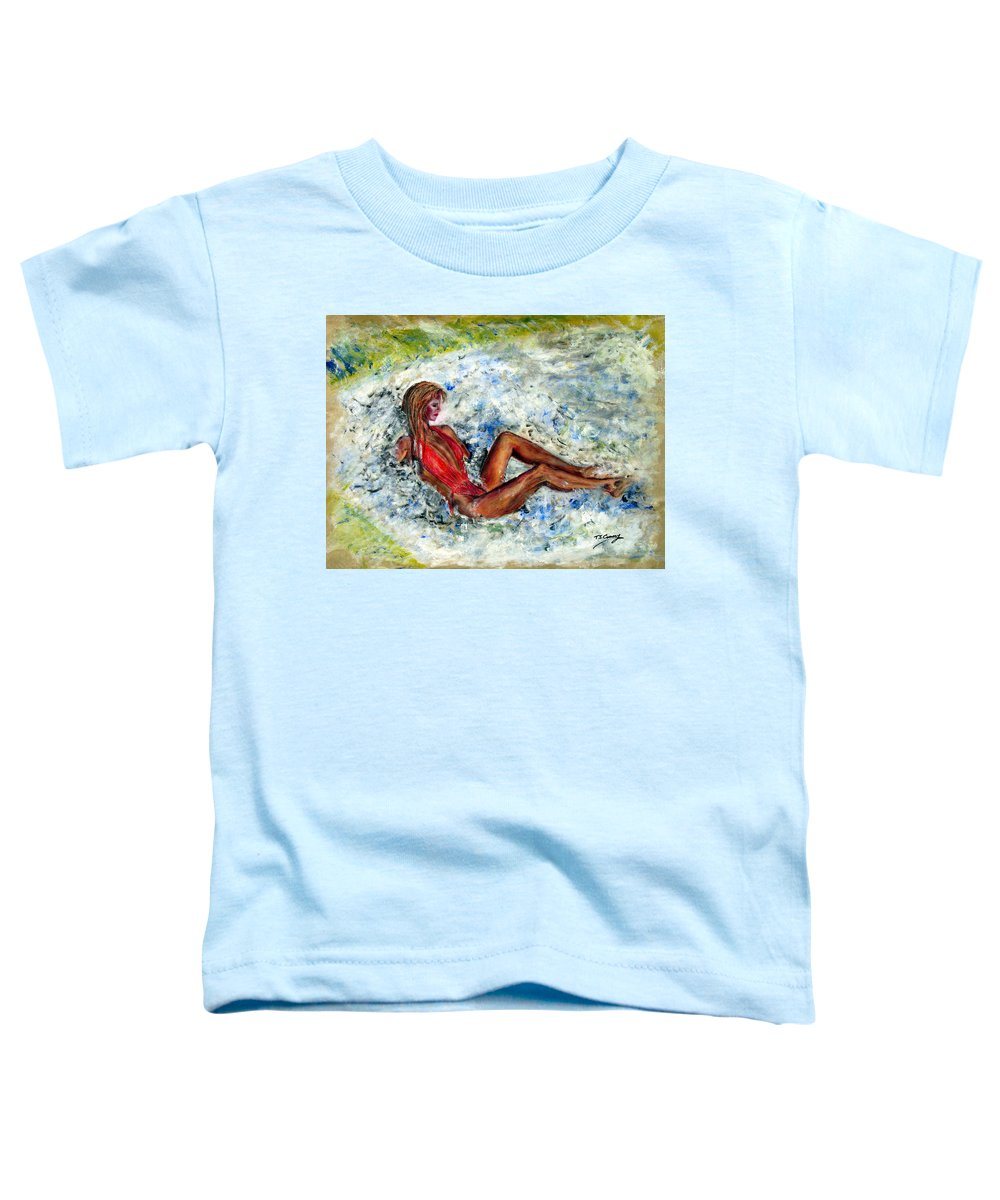 Girl Toddler T-Shirt featuring the painting Girl In A Red Swimsuit by Tom Conway