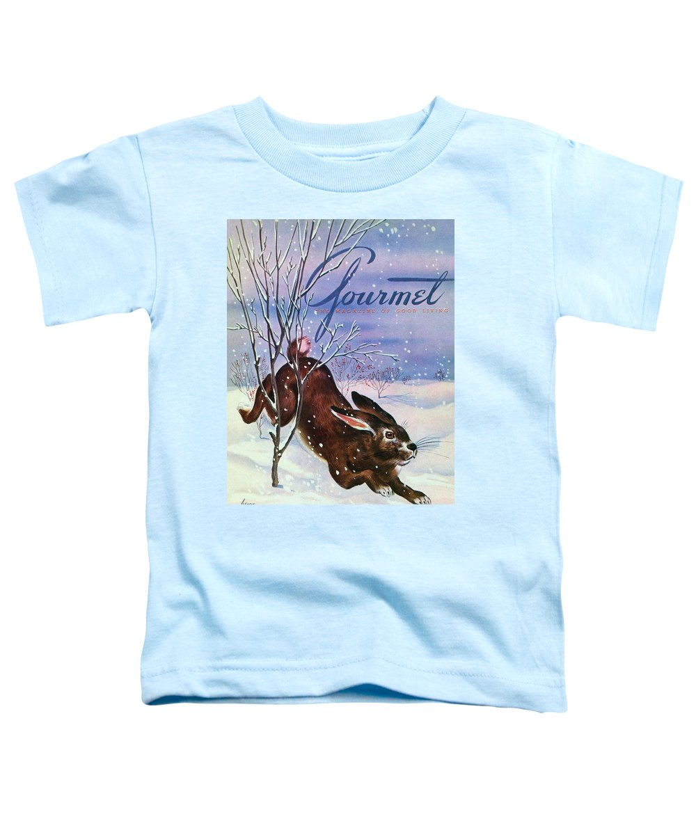 Illustration Toddler T-Shirt featuring the photograph Gourmet Cover Of A Rabbit On Snow by Henry Stahlhut