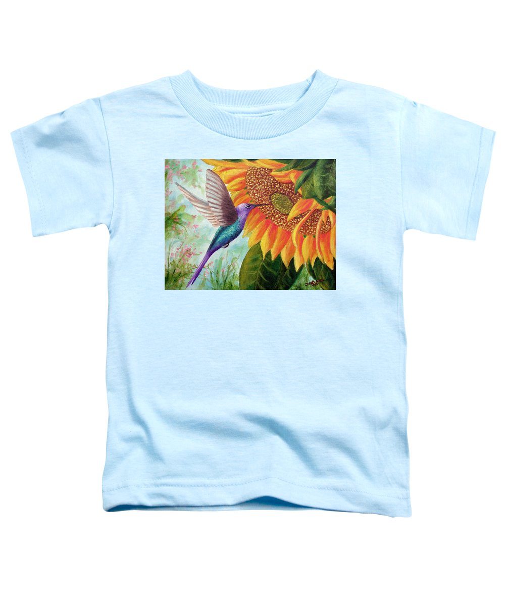 Hummingbird Toddler T-Shirt featuring the painting Humming For Nectar by David G Paul