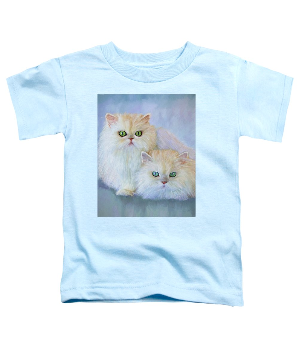 Cat Toddler T-Shirt featuring the painting Katrina And Bjorn by David Wagner