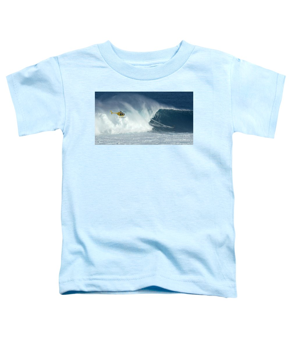 Laird Hamilton Toddler T-Shirt featuring the photograph Laird Hamilton Going Left At Jaws by Bob Christopher