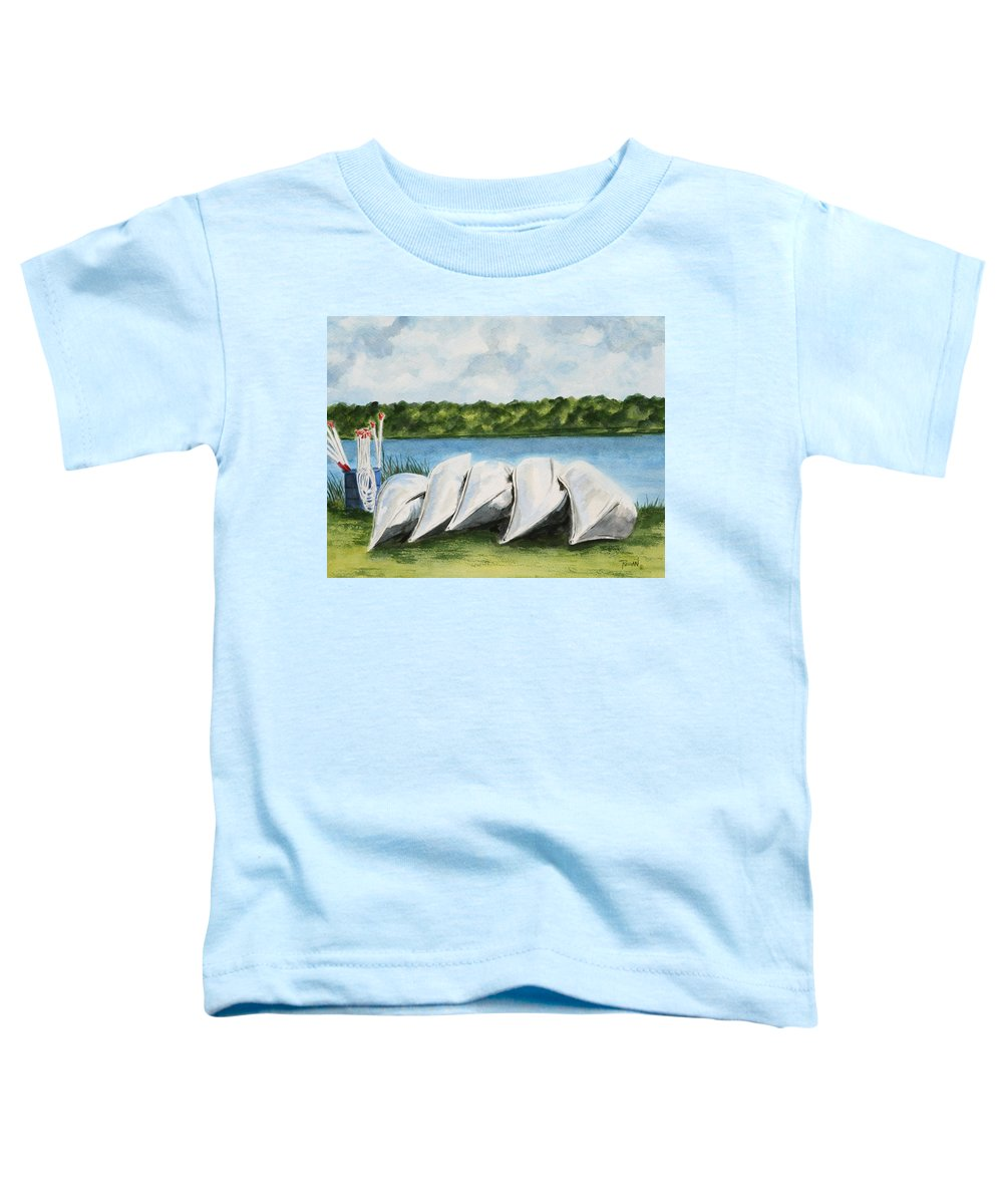Canoes Toddler T-Shirt featuring the painting Lazy River by Regan J Smith