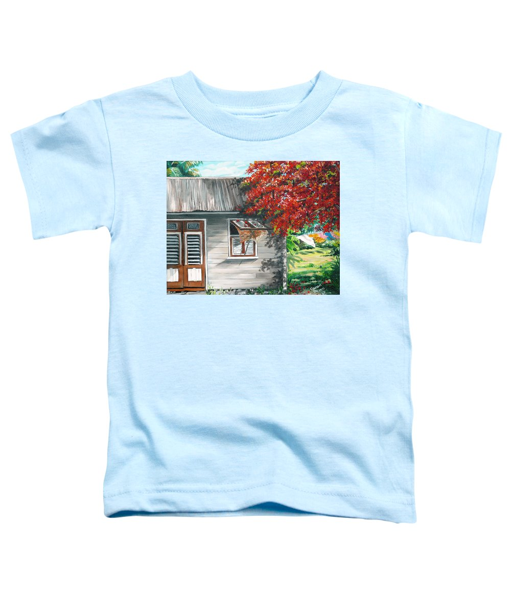 Caribbean Painting Typical Country House In The Caribbean Or West Indian Islands With Flamboyant Tree Tropical Painting Toddler T-Shirt featuring the painting Little West Indian House 1 by Karin Dawn Kelshall- Best