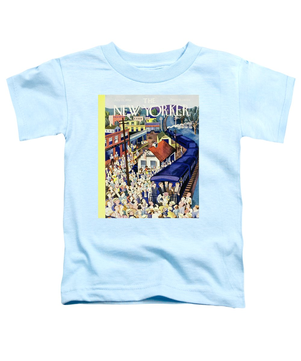 Outdoors Toddler T-Shirt featuring the painting New Yorker July 13 1940 by Ilonka Karasz