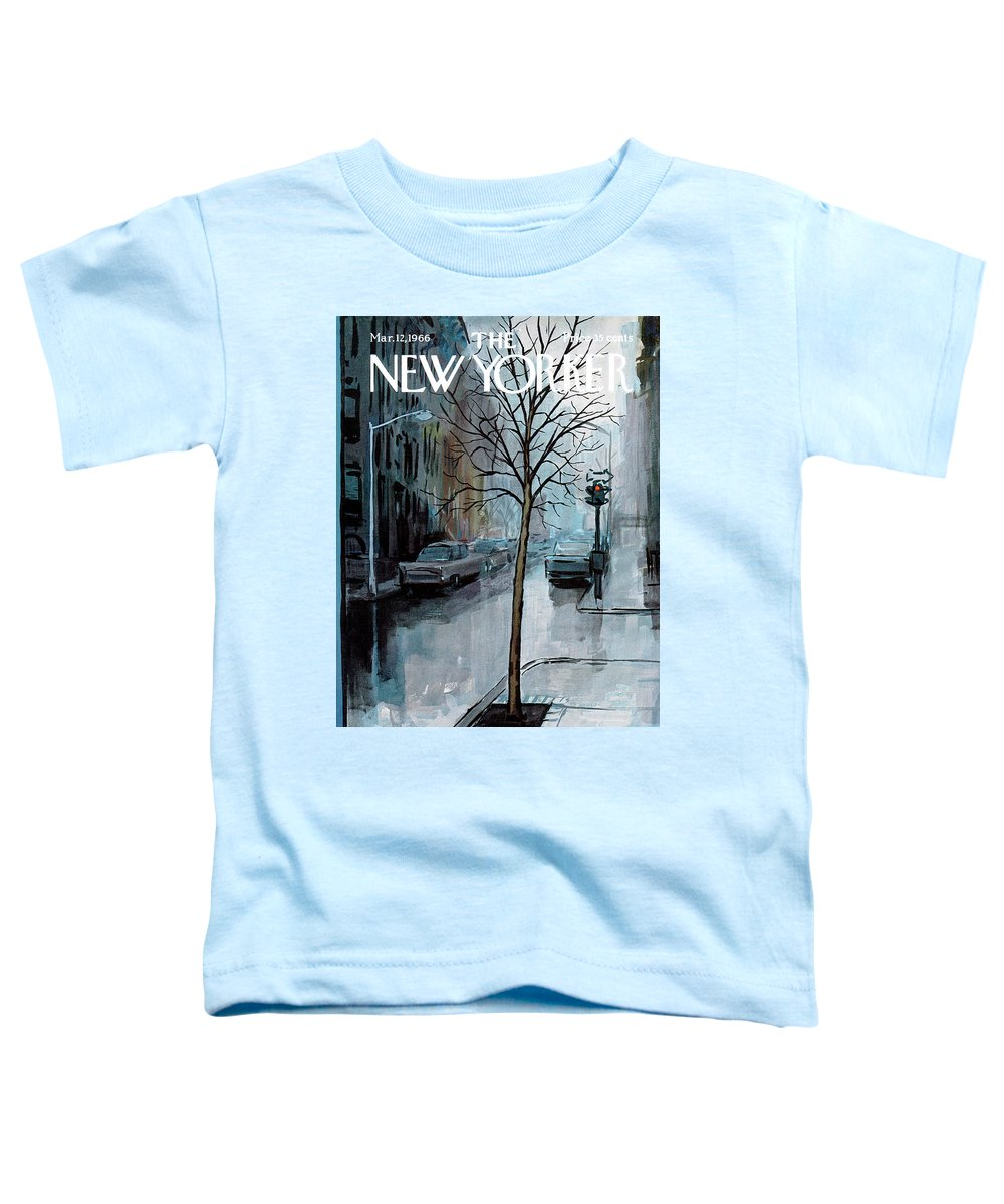 Rain Toddler T-Shirt featuring the painting New Yorker March 12th, 1966 by Arthur Getz