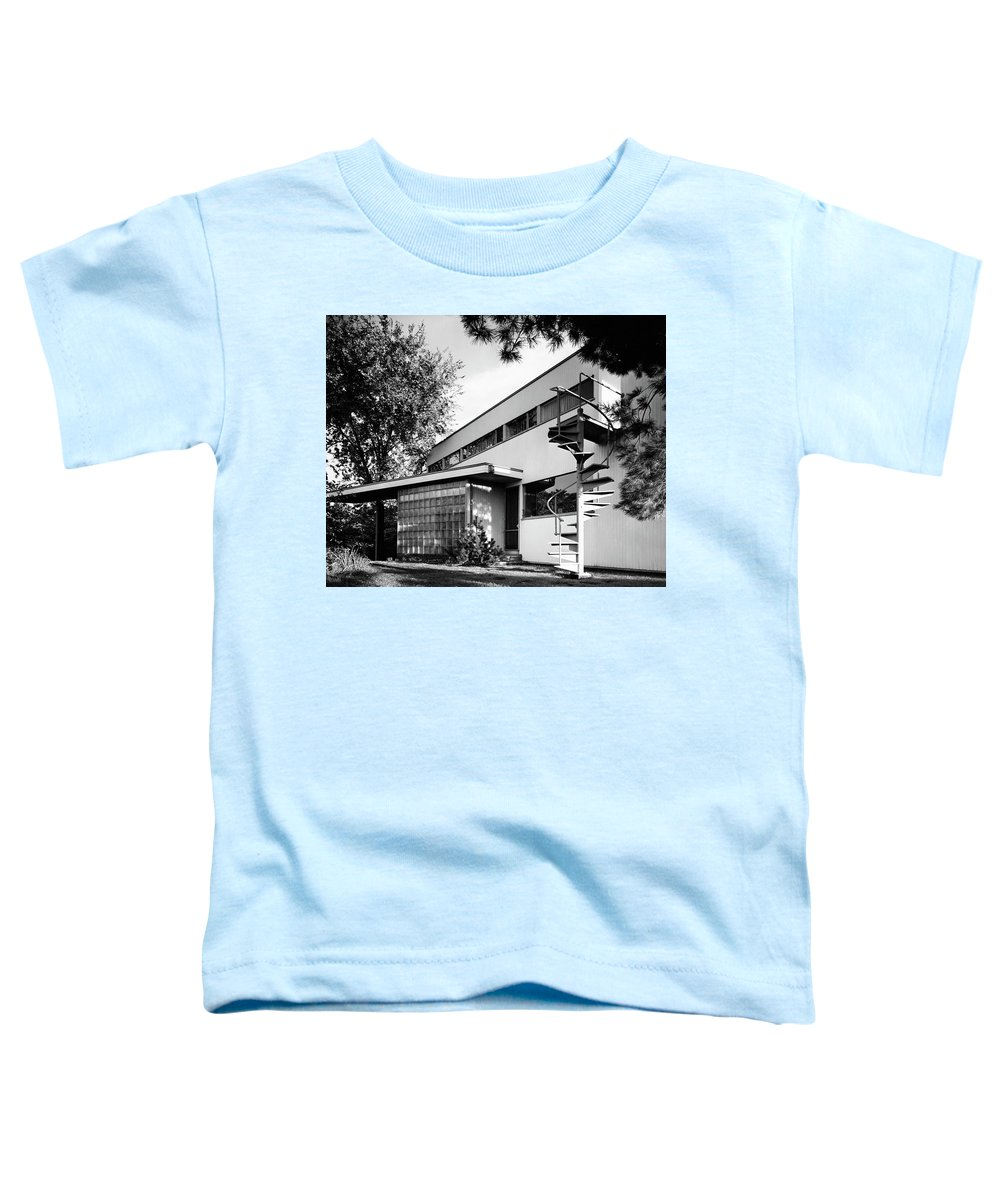 Home Toddler T-Shirt featuring the photograph Outdoor Spiral Staircase To The Roof-deck Of Mr by Robert M. Damora