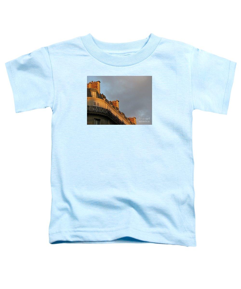 Paris Toddler T-Shirt featuring the photograph Paris At Sunset by Ann Horn