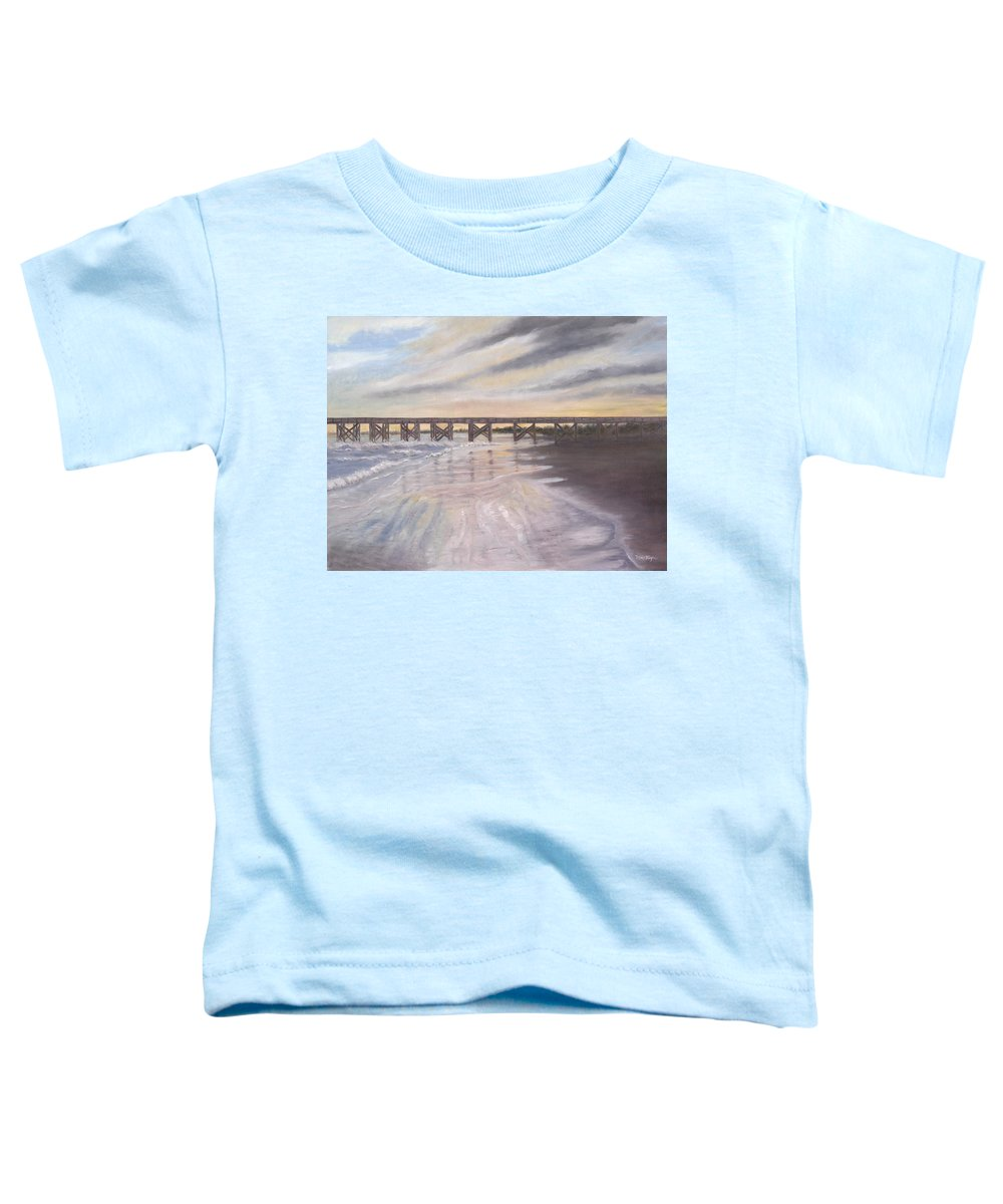 Beach; Pier; Low Country Toddler T-Shirt featuring the painting Reflections by Ben Kiger
