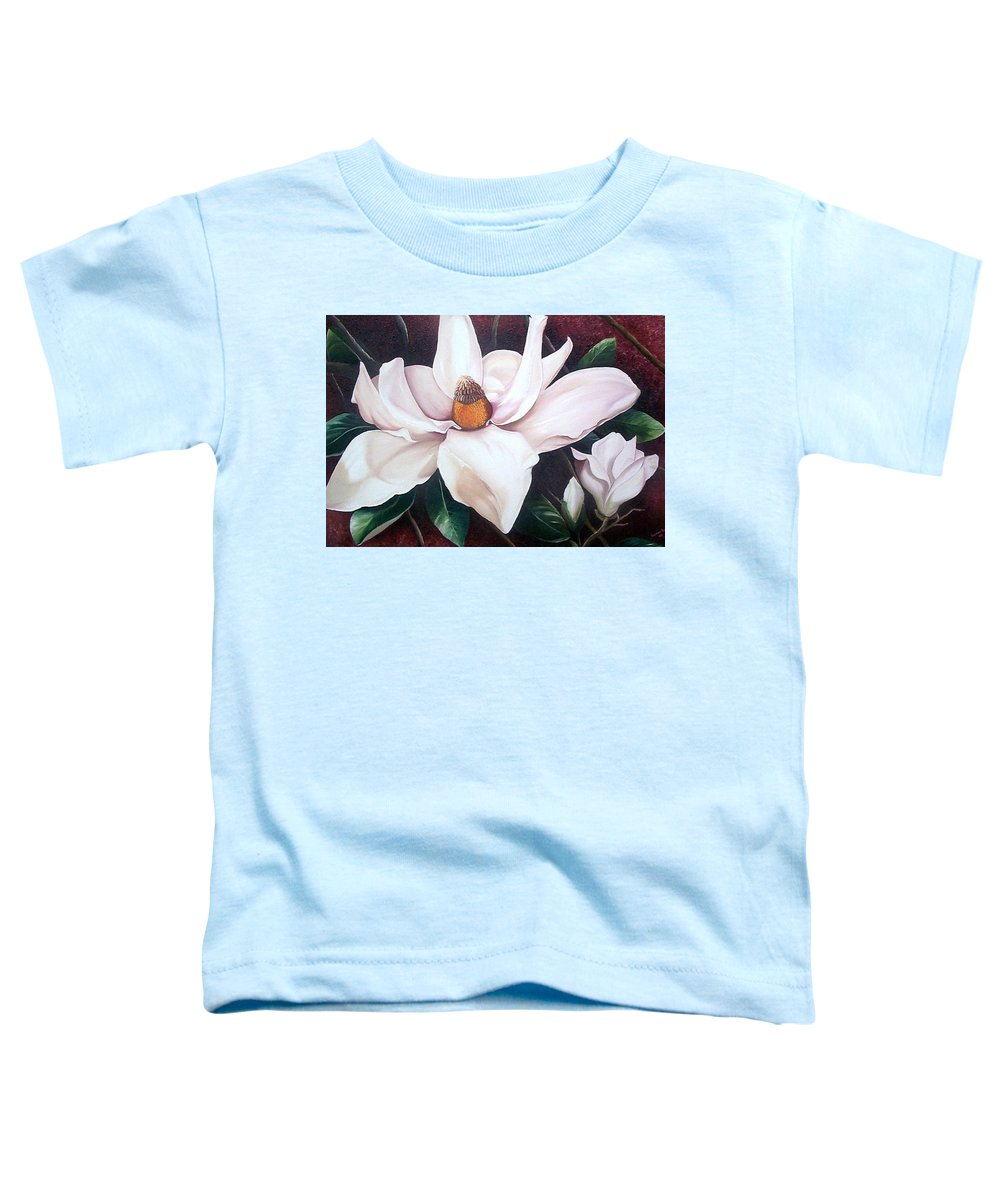 Magnolia Southern Bloom Floral Botanical White Toddler T-Shirt featuring the painting Southern Beauty by Karin Dawn Kelshall- Best