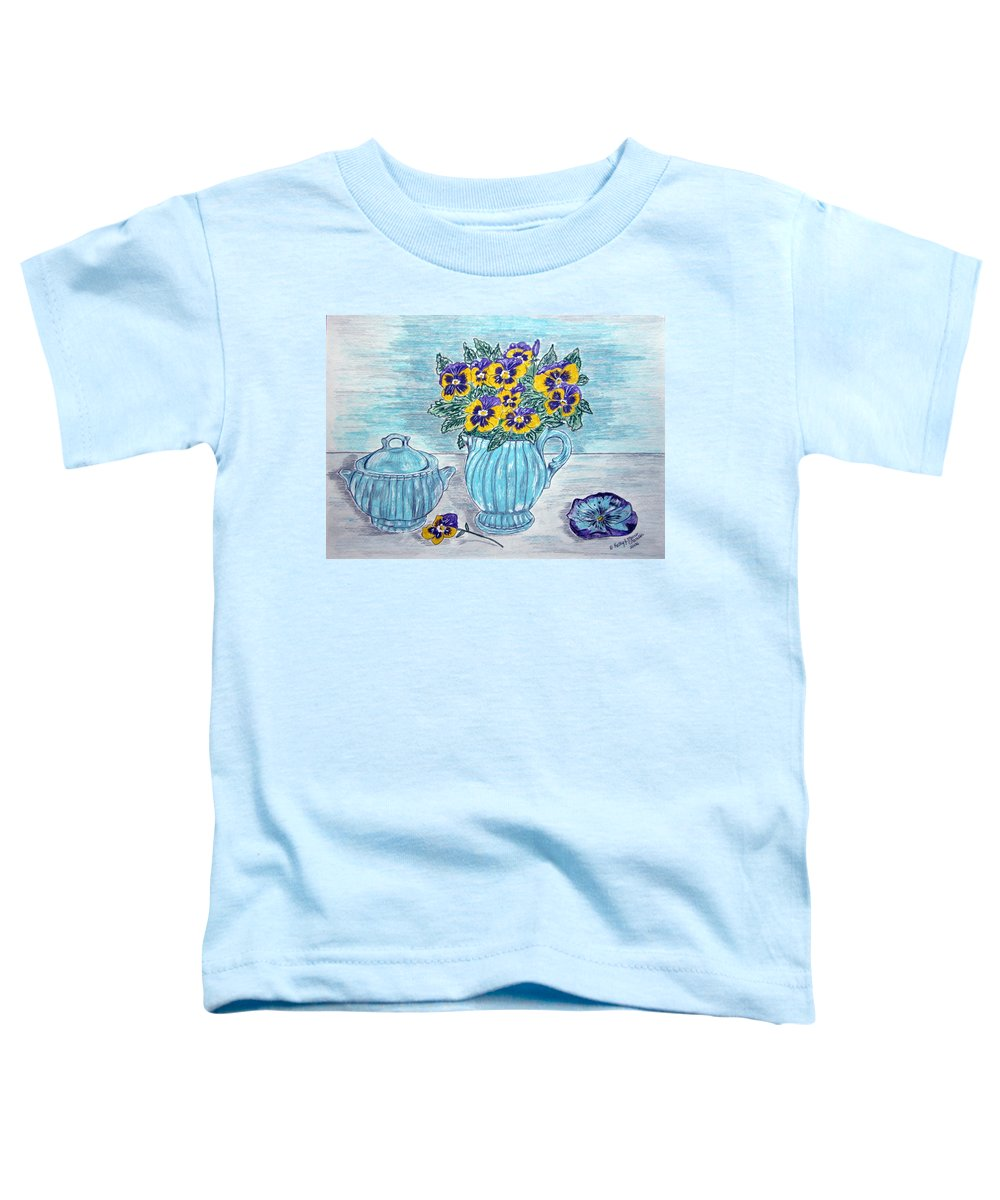 Stangl Pottery Toddler T-Shirt featuring the painting Stangl Pottery And Pansies by Kathy Marrs Chandler