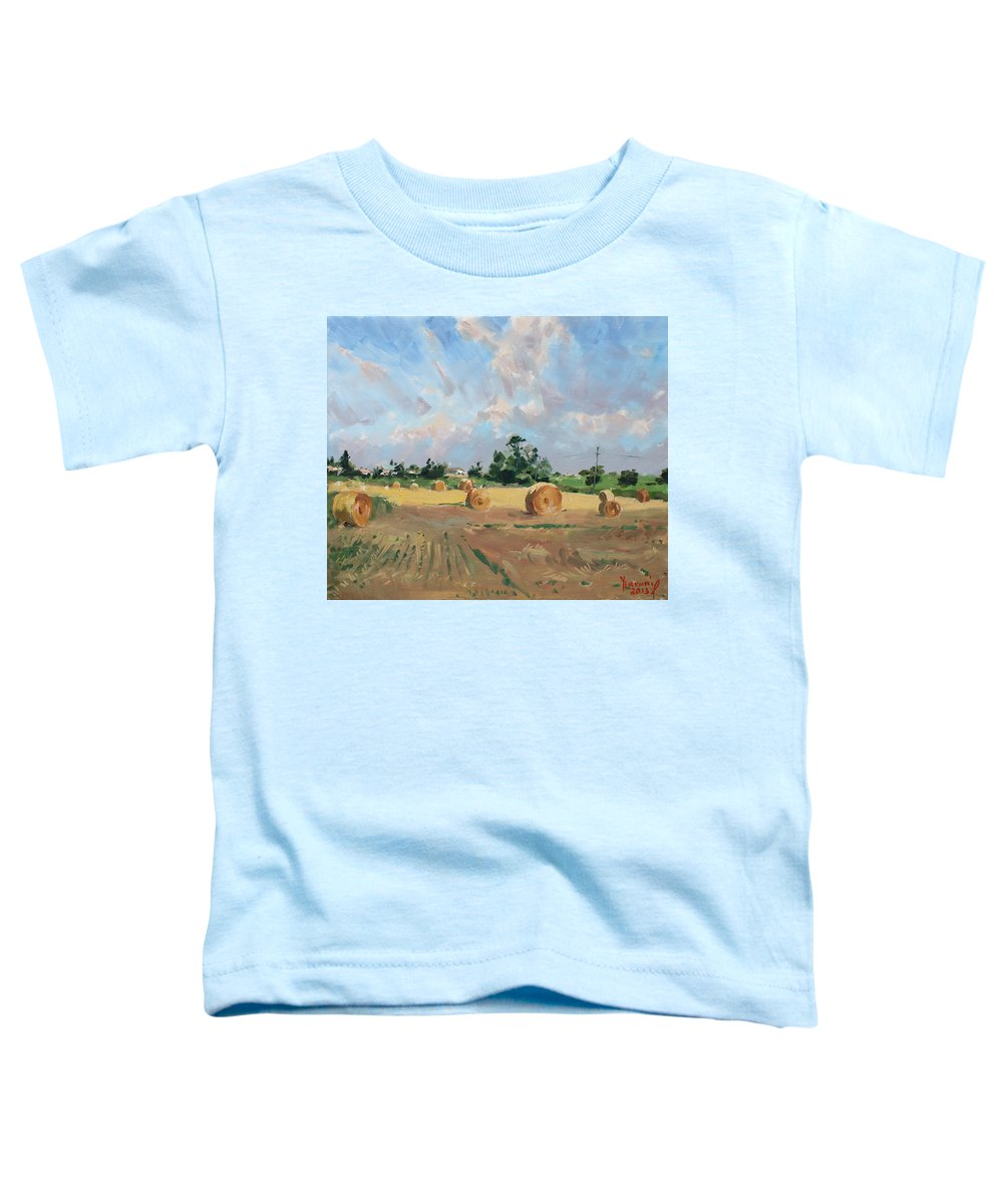 Summer Toddler T-Shirt featuring the painting Summer Fields In Georgetown On by Ylli Haruni