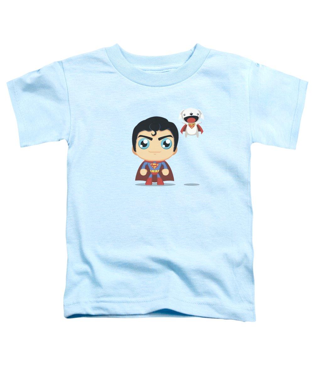 Superman Toddler T-Shirt featuring the digital art Superman - Cute Superman by Brand A