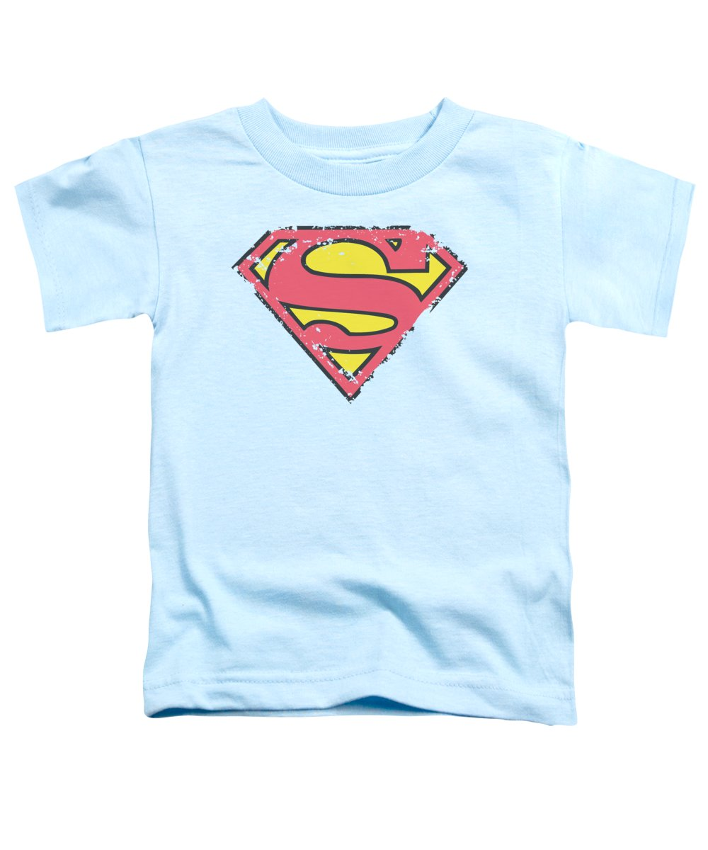 Superman Toddler T-Shirt featuring the digital art Superman - Distressed Shield by Brand A
