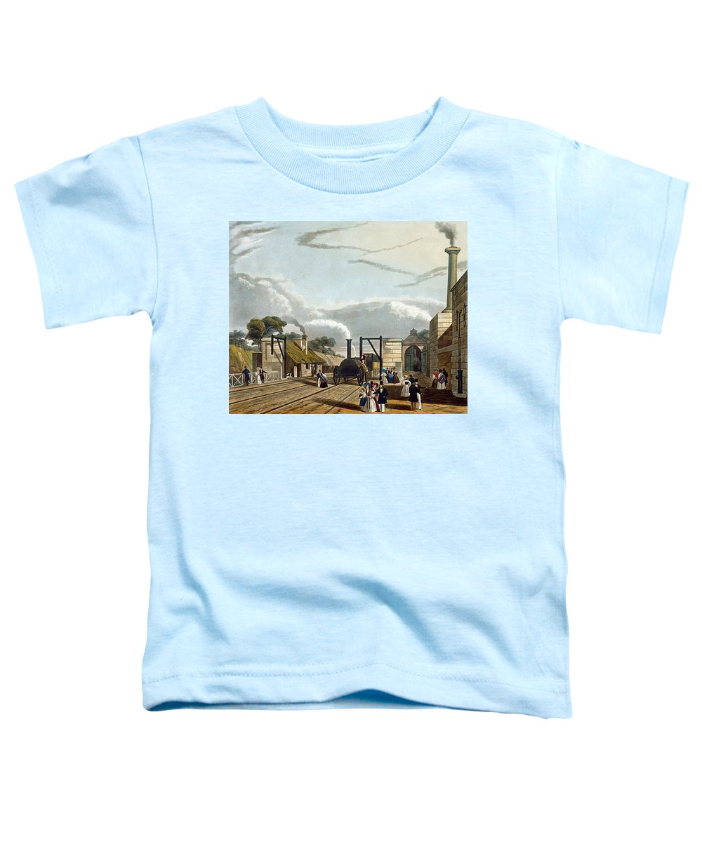 Train Toddler T-Shirt featuring the drawing Taking In Water At Parkside, Plate 13 by Thomas Talbot Bury