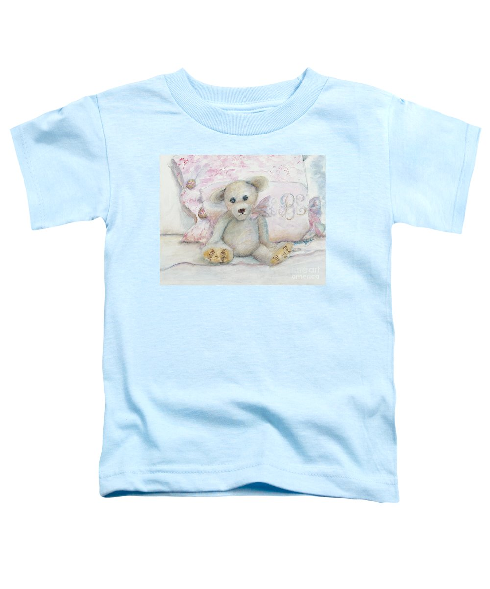 Teddy Bear Toddler T-Shirt featuring the painting Teddy Friend by Nadine Rippelmeyer